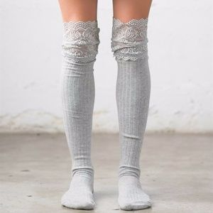 Accessories - Lace Topped Knee Socks Gray Boot Over the Knee